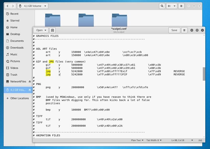 Scalpel.conf Dosyası - Silinen dosyaları geri getirmek